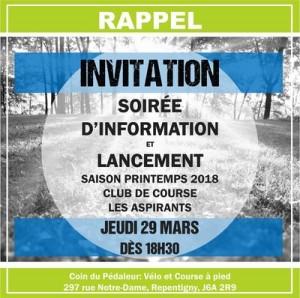 soirée d'information club de course les aspirants de Repentigny