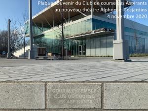 Plaque souvenir Club de course Les Aspirants - 4 novembre 2020